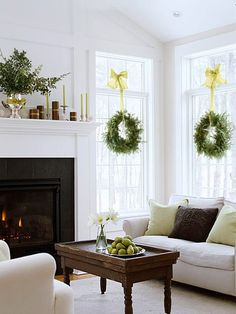 Less is more in this festive #holiday living room. See the rest of this home: http://www.bhg.com/christmas/indoor-decorating/christmas-home-in-green/