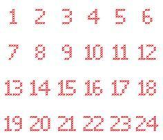 Cross-Stitch-Adventskalender-Zahlen in verschiedene Dateiformate umgewandelt als… Cross-stitch advent calendar numbers converted to different file formats as a plotter freebie Cross Stitch Numbers, Cross Stitch Letters, Cross Stitch Fabric, Cross Stitch Baby, Cross Stitch Charts, Cross Stitching, Cross Stitch Embroidery, Embroidery Patterns, Cross Stitch Alphabet Patterns