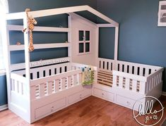Solid Wood Reading Nook Bed with Drawers toddler bed kid's bed bed with book shelves Large Beds, Bed With Drawers, Crib Mattress, Full Mattress, House Beds, Wood Beds, Reading Nook, Girls Bedroom, Bookshelves