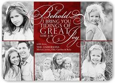 Tidings Of Great Joy Religious Christmas Card, Rounded Corners, Red