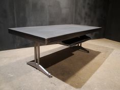 5ft Vintage Steelcase Metal Tank Desk Double Pedestal
