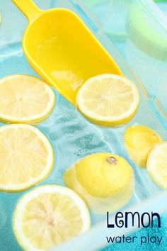 Water Play-Summer sensory play for kids who love making lemonade! Great for fine motor practice, sensory exploration and moreLemon Water Play-Summer sensory play for kids who love making lemonade! Great for fine motor practice, sensory exploration and Water Play Activities, Sensory Activities, Infant Activities, Summer Activities, Play Activity, Nursery Activities, Family Activities, Activity Bags, Health Activities