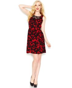 kensie Sleeveless Crew-Neck Floral-Print Dress - Dresses - Women - Macy's