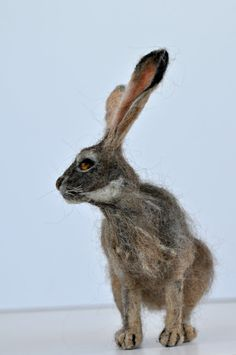 Needle felted  animal. Jackrabbit. . Made to order by darialvovsky, $112.00