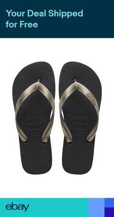 4ce9c8ee0 Havaianas Top Tiras Black and Metallic Gold Flip Flops RRP £24.00
