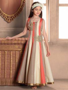 Shop Peach raw silk gown online from G3fashion India. Brand - G3, Product code - G3-GGO0514, Price - 4595, Color - Peach, Fabric - Raw Silk,