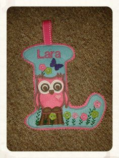 Personalized Capital Letter for Lara made out of Turquoise  and Pink Base colour felt. Decorated with lovely flower buttons and a cute pink felt owl applique