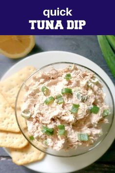 A super easy tuna dip recipe with cream cheese, spring onions, and a lemon kick. It's ready in less than 5 minutes, and can be served either with crackers, or as a spread with crostini or a simple toast. Quick, tasty, perfect for a hungry crowd. A great low carb and keto appetizer for parties. The cream cheese can be replaced with Greek Yogurt or sour cream. Lunch Box Recipes, Dip Recipes, Casserole Recipes, Seafood Recipes, Dinner Recipes, Cooking Recipes, Healthy Recipes, Tuna Dip, Tea Time