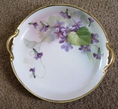 Hand Painted Nippon cake plate decorated with violets