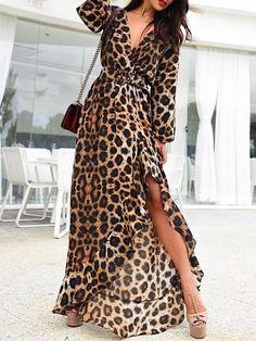 Leopard Belted Irregular Ruffls Hem Maxi Dress – Daily Posts for Women Leopard Print Outfits, Animal Print Outfits, Animal Print Fashion, Leopard Dress, Fashion Prints, Leopard Shoes, Cheetah, Elegantes Outfit, Mode Hijab