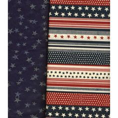 2 pcs Red, White & Navy Blue Stripe & Sheer Navy with Silver Stars Craft Fabric Listing in the Other,Yardage,Fabrics,Crafts, Handmade & Sewing Category on eBid United States | 147635429