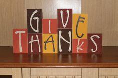 Give Thanks bocks- Thanksgiving mantel, table top decoration, wood blocks, autumn, fall decor