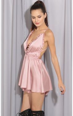 Rompers/Jumpsuits > Babydoll Satin Romper In Pink