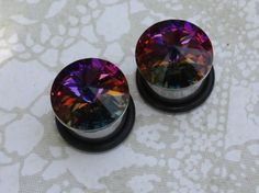 """Plugs tunnels Swarovski crystal stainless steel for gauged / stretched ears Sizes: 7/16"""", 1/2"""", 9/16"""" 11mm 12mm 14mm on Etsy, $22.00"""