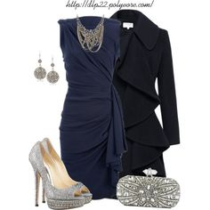 Navy Blue by dlp22 on Polyvore featuring Helene Berman, Jimmy Choo, Marchesa, Camilla James, Vanity Her and Lanvin