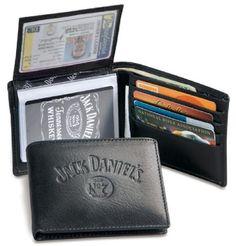 7b8610f321 Jack Daniels Black Leather Mens Trifold Wallet 4011JD