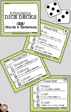 Looking for engaging articulation materials and activities for speech therapy? DICE DECKS are interactive task cards that allow students to play and work on their speech sounds at the same time! This grab and go resource puts some fun back into articulation drill work. Click to view this /SH/ Words and Sentences deck!
