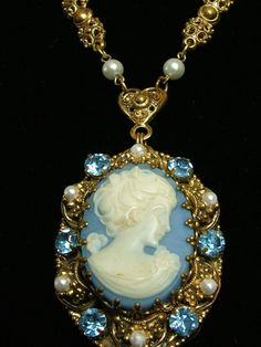 Vintage blue cameo necklace