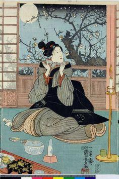 Utagawa Kuniyoshi - Woodblock print, triptych. Girls playing 'kitsune ken'. Nishiki-e on paper. - 2
