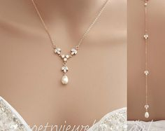 Rose Gold Bridal Backdrop Necklace Rose Gold Back Necklace Rose Gold Wedding Jewelry Crsytal Pearl Back Necklace, Leila