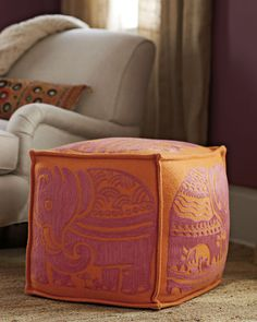 """would be so easy to make, either embroidered or block printed. 18"""" cube. Seriously, why does anyone sit on chairs?"""