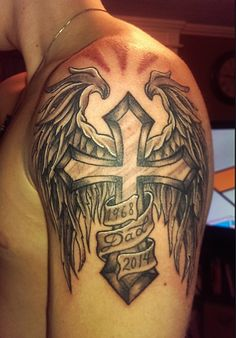 Memorial tattoo by Audrey Mello Forarm Tattoos, Body Art Tattoos, Sleeve Tattoos, Tatoos, Faith Tattoo Designs, Cross Tattoo Designs, Cross With Wings Tattoo, Cross Tattoo For Men, Remembrance Tattoos