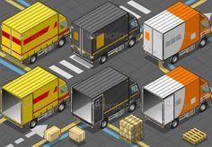 Isometric Delivery Trucks
