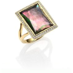 IPPOLITA Gelato Black Shell, Clear Quartz, Diamond & 18K Yellow Gold... (€1.655) ❤ liked on Polyvore featuring jewelry, rings, 18k gold ring, 18k ring, shell ring, gold diamond rings and pave ring