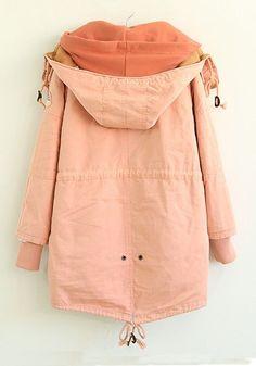 Pink Plain Drawstring Cotton Blend Padded Coat