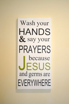 Wash Your Hands Jesus and Germs Wooden Sign  12 x 24 by SpearCraft, $28.00