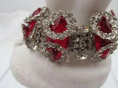 Vintage Unsigned Kramer of New York  Red and Halo Crystal Rhinestone Bracelet