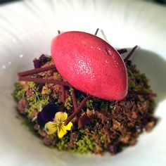 """""""Summer Chocolate forest"""" Soft chocolate, chestnut, lavender cream, sour cherry sorbet, blackberry candy green tea, licorice, chocolate twigs, berries, crystallised fennel fronds"""