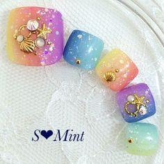 Toenail Polish Designs, Pedicure Designs, Toe Nail Designs, Pretty Toe Nails, Cute Toe Nails, Toe Nail Art, Japanese Nail Design, Japanese Nail Art, Asian Nail Art