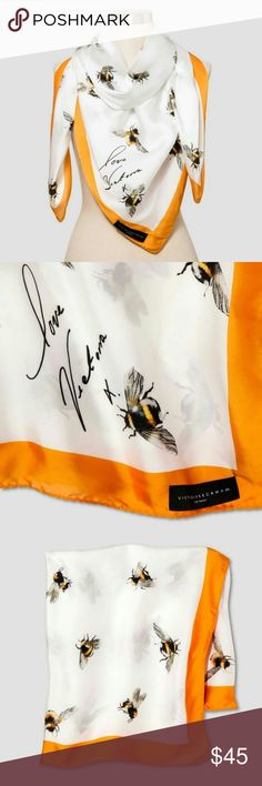Victoria Beckham x Target Bee Print Scarf NWT Victoria Beckham for Target Bee print scarf with marigold trim. This scarf is sold out in stores. 46 in. L x 46 in. W. Victoria Beckham Accessories Scarves & Wraps
