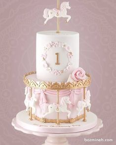 Little Cherry Cake Company - Kids Cakes - Taylor - Torten İdeen Carousel Birthday Parties, Baby Birthday Cakes, Tortas Baby Shower Niña, Baby Shower Cakes, Carousel Cake, Baby Girl Cakes, Cherry Cake, Wedding Cakes, Birthdays