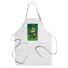 St Patrick Day Souvenir Woman Clover (Green) - Vintage Art (Chef's Cotton/Poly Apron)