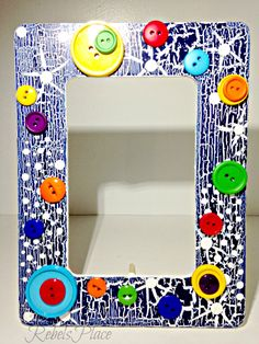 Button Crackle Youthful  Child Picture Frame 4 x 6 by RebelsPlace on Etsy