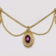 An amethyst and pearl cluster festoon necklace  The snake-link chain supporting swags below and three drops each consisting of a foiled cabochon amethyst within a surround of seed pearls, length 39cm. Victorian or Victorian style