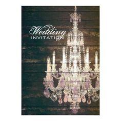 Shabby Chic Wedding Invitations Rustic Barn Wood Chandelier wedding Card