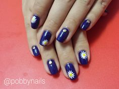 Daisy Nails with studs for my friend :) http://instagram.com/p/juiNJ2Bel-/