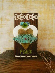 Hearts Wall Hanging Peacful Hearts Original Art by Ceramystica