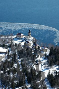 Bryan Hansel Photography. Split Rock Lighthouse State Park on Lake Superior in #Minnesota. #Aerial