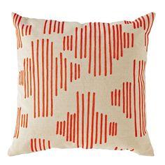Mod Botanical Throw Pillow Cover  (Red Stripe)