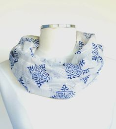 Indigo Compass Print Infinity Scarf | Women's Bags & Accessories | Maelu | Scoutmob Shoppe | Product Detail