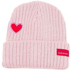 Sweet Heart Embroidery Flanging Knitted Beanie ($5.58) ❤ liked on Polyvore featuring accessories, hats, beanie cap hat, embroidered beanie, embroidery hats, beanie hat and embroidered beanie hats