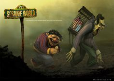 Sesame World: Post-Apocalyptic Bert and Ernie by Arron Ingold