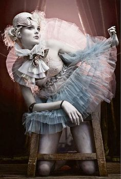 pastel circus doll tutu high wire puppet