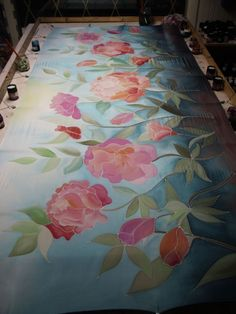 Finished! Hand painted silk stole - 2 metres long with colorful flowers - www.silkywaysilk.com