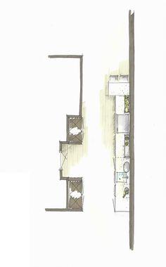 Siemaitc keukenontwerp met geïntegreerde hoge kasten, een lang blad. Speels gemaakt door de kruidentuin in de keuken, zwevende planken en een barretje | Meubelbar