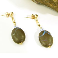 Boulder opal (Queeensland, Australia) and gold-filled earrings by Gemtation Jewellery Handcrafted Jewelry, Jewelry Crafts, Gemstone Jewelry, Opal, Australia, Jewellery, Drop Earrings, Gemstones, Gold